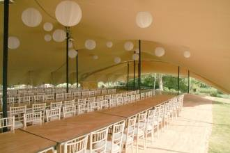 inside 28x15m Stretch tent Wedding Guildford 160 dinning